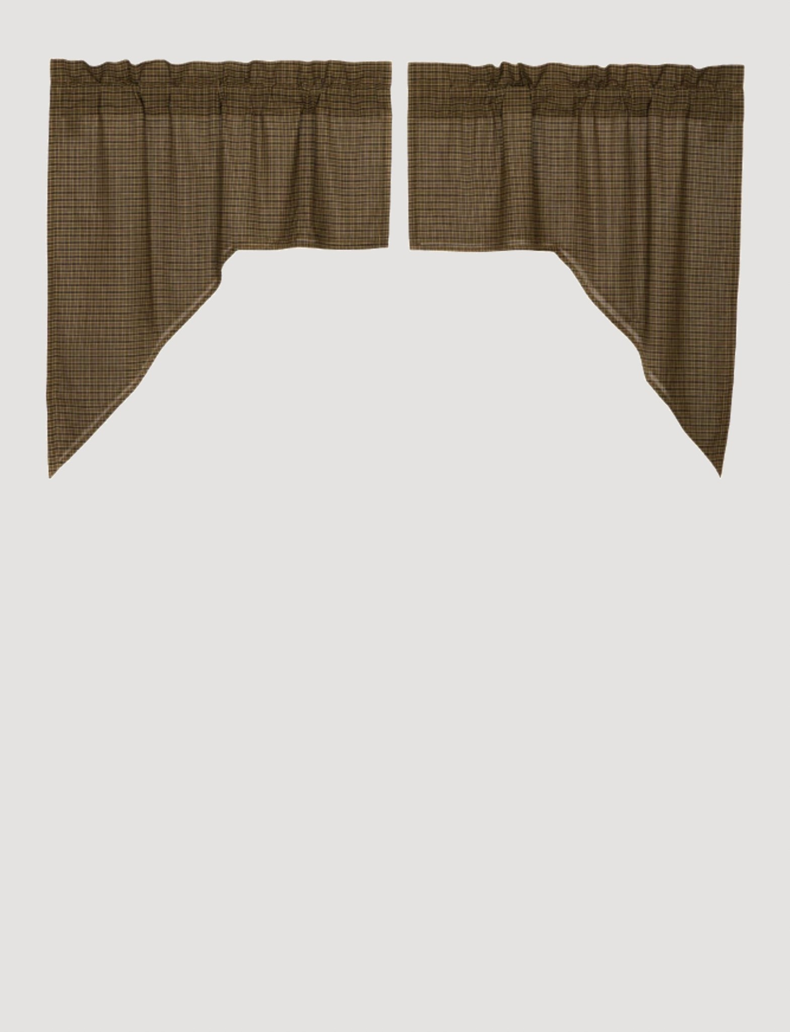 """VHC Brands Tea Cabin Green Plaid Swag Set of 2 36"""" x 36"""" x 16"""""""