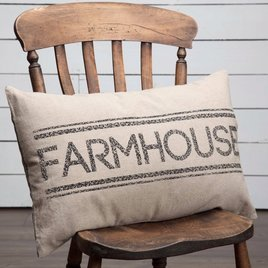 VHC Brands Sawyer Mill Charcoal Farmhouse Pillow