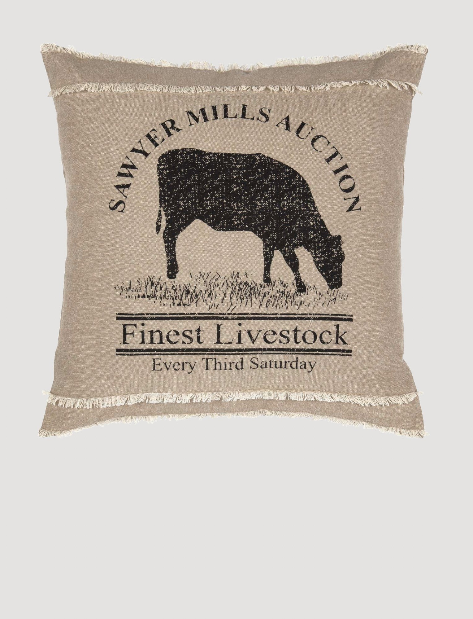 VHC Brands Sawyer Mill Charcoal Cow Pillow