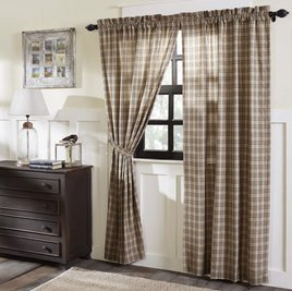 VHC Brands Sawyer Mill Charcoal Plaid Lined Panel Set