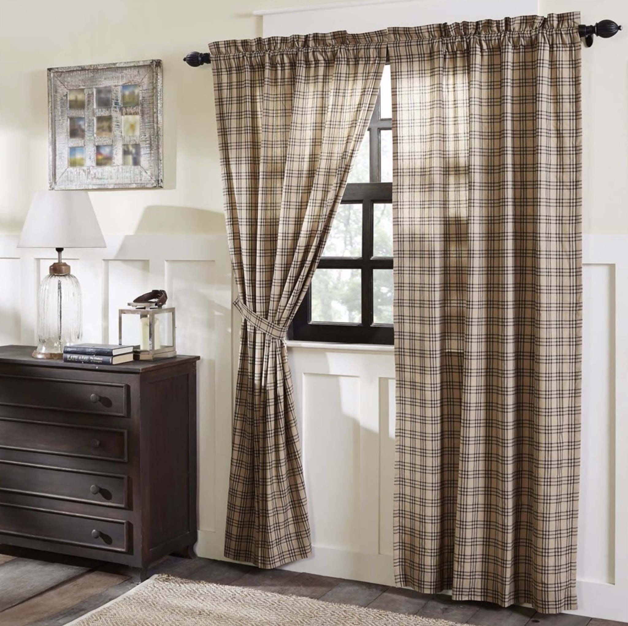 VHC Brands Sawyer Mill Charcoal Plaid Lined Panel Set of 2