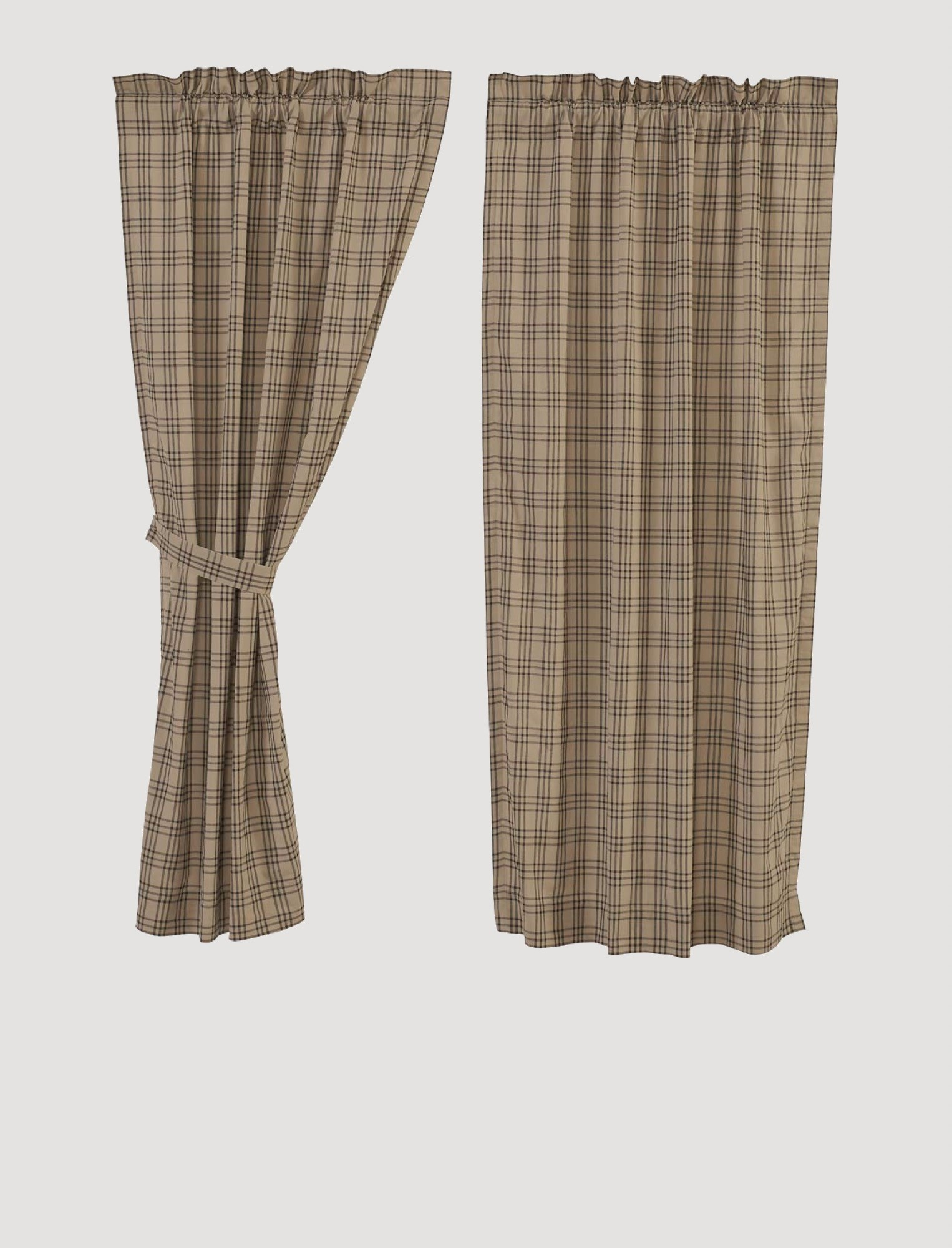 VHC Brands Sawyer Mill Charcoal Plaid Short Lined Panel Set of 2