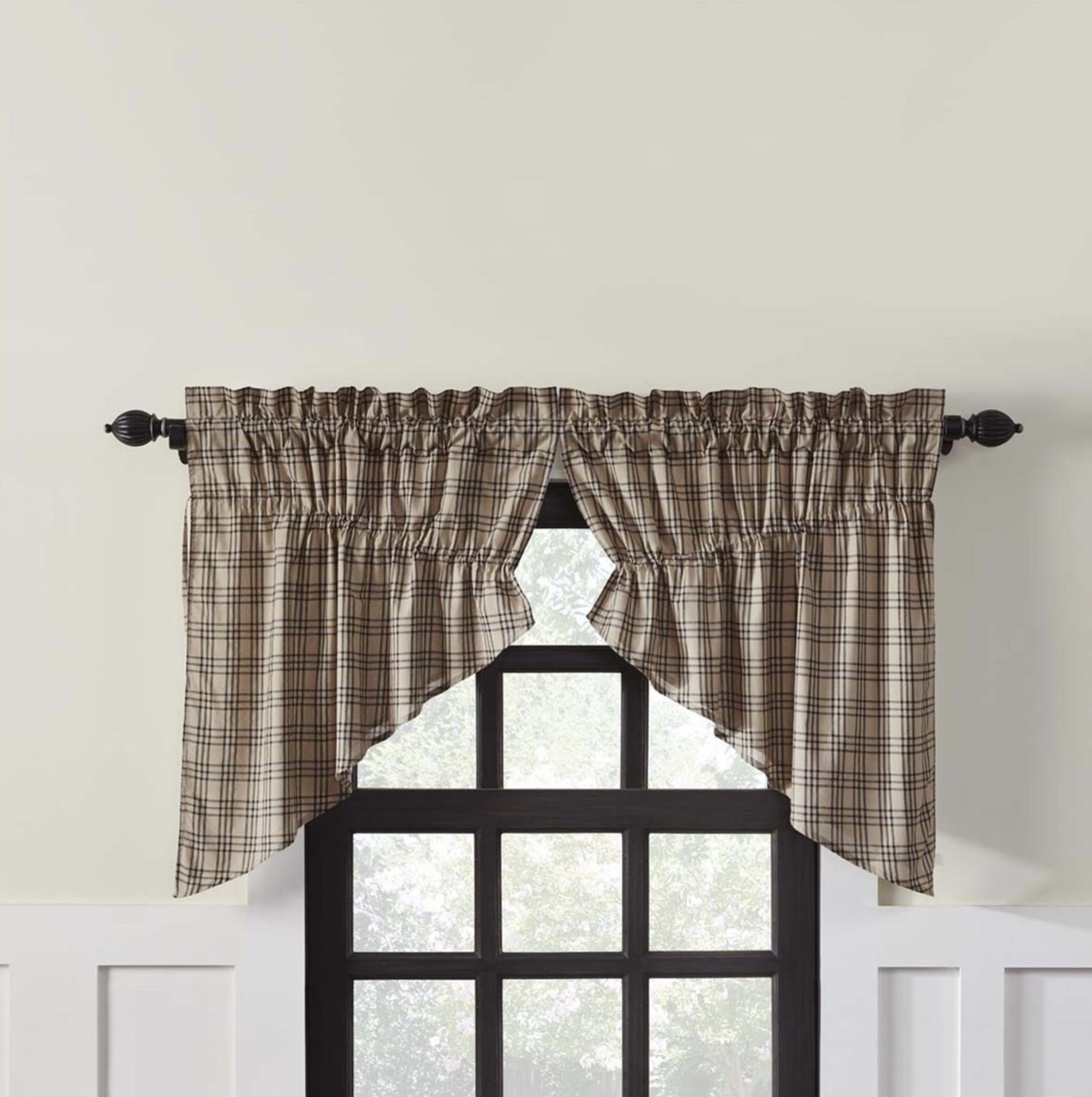 VHC Brands Sawyer Mill Charcoal Plaid Prairie Swag Lined Set of 2
