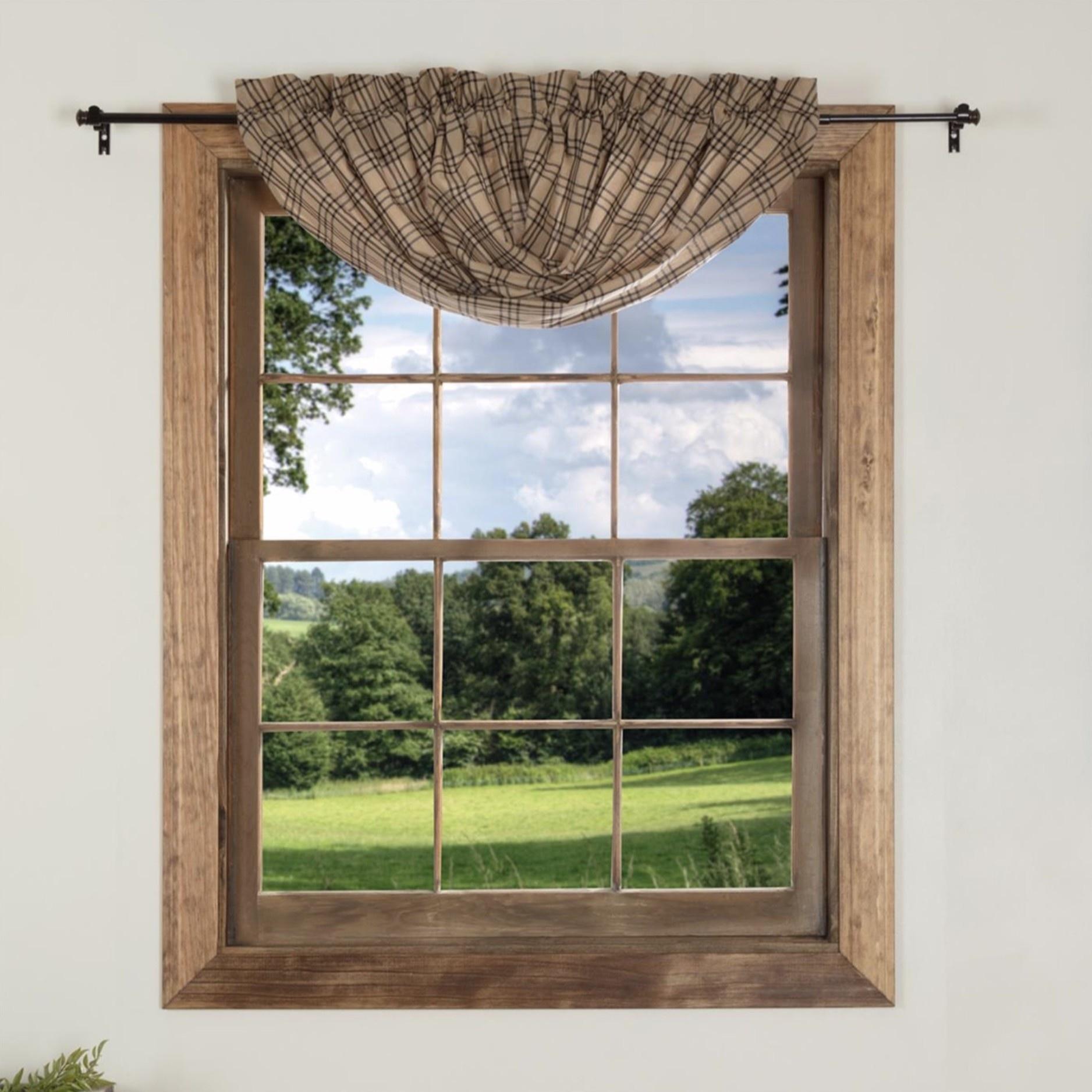 Curtains Drapes Farmhouse Country Primitive Sawyer Mill Plaid French Door Panel Curtain Home Furniture Diy Cruzeirista Com Br