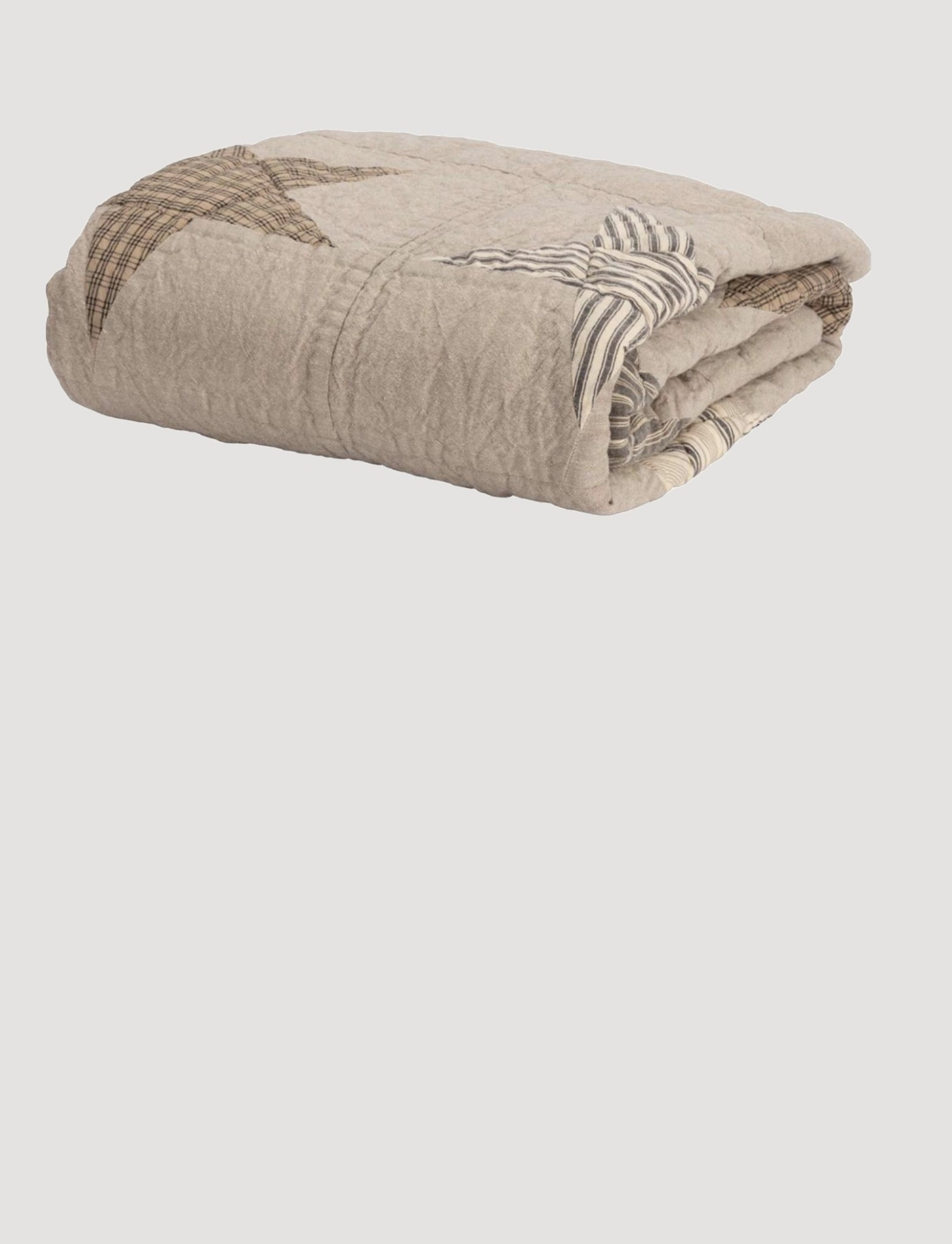 """VHC Brands Sawyer Mill Star Charcoal Quilted Throw 60"""" x 50"""""""