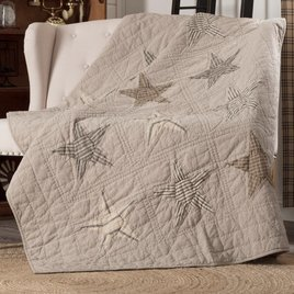 VHC Brands Sawyer Mill Star Charcoal Quilted Throw