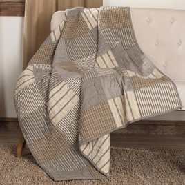 VHC Brands Sawyer Mill Charcoal Block Quilted Throw