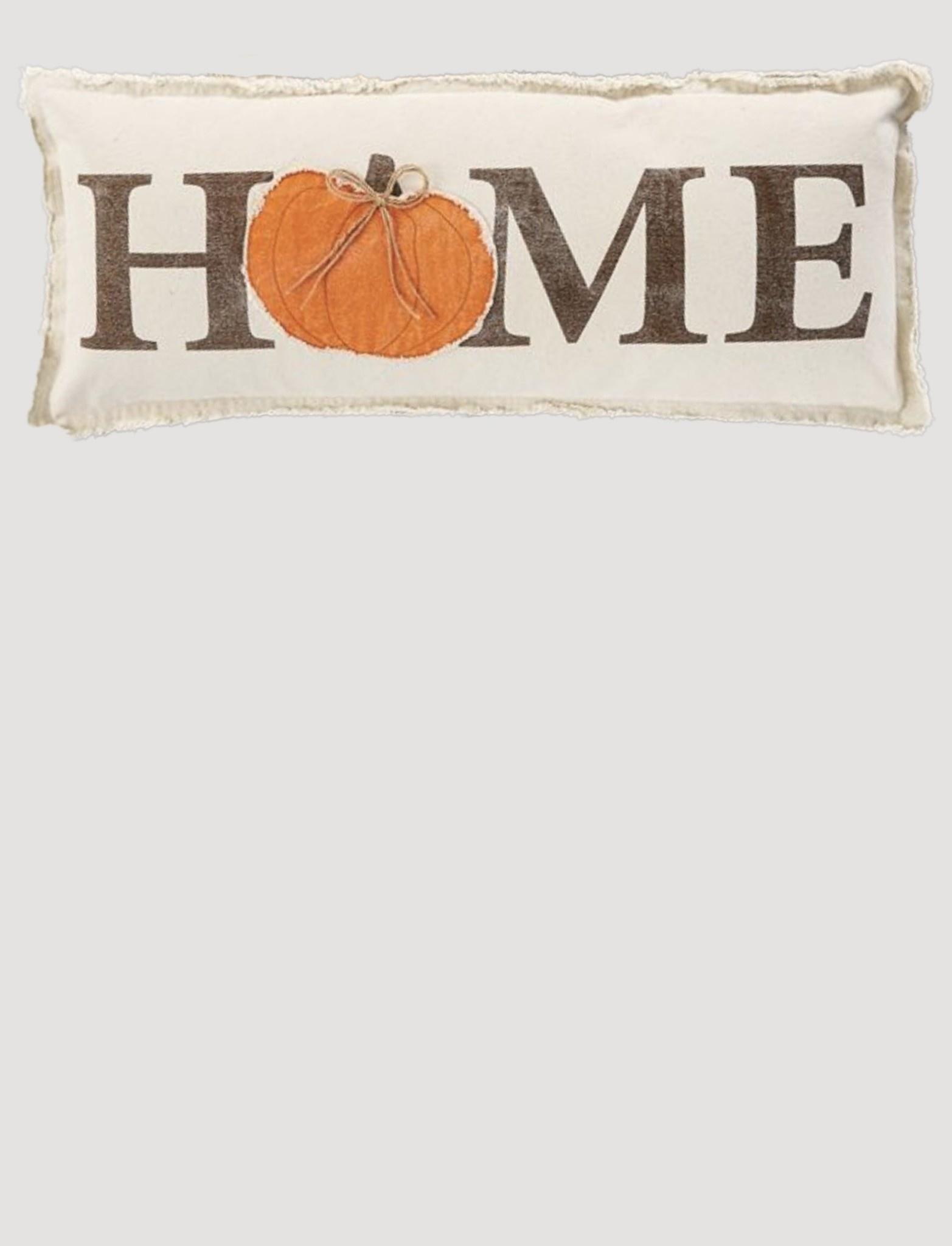 """Mud Pie Canvas Applique Pumpkin Pillow Lumbar 12"""" x 30"""""""