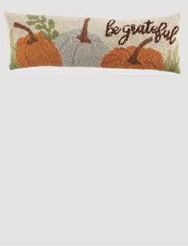 Mud Pie Be Grateful Hooked Wool Pillow