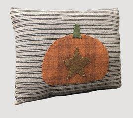 Nana's Farmhouse Black Ticking Stripe Pumpkin & Star Pillow