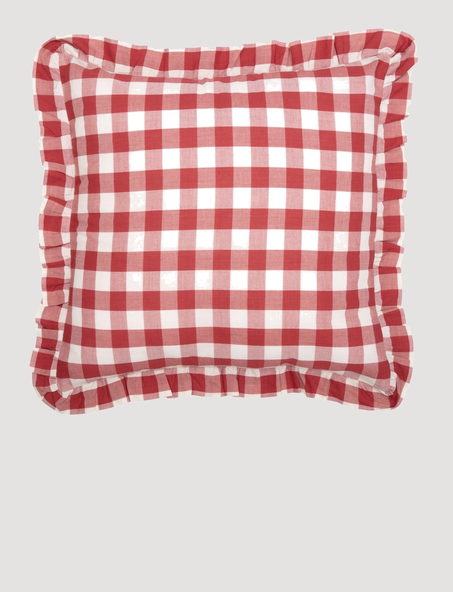 VHC Brands Annie Buffalo Red Check Ruffled Fabric Pillow 18x18