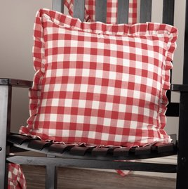 VHC Brands Annie Buffalo Red Check Ruffled Fabric Pillow