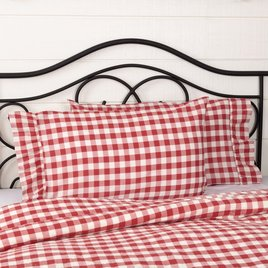 VHC Brands Annie Buffalo Red Check Pillow Cases Set