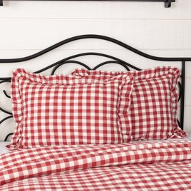 VHC Brands Annie Buffalo Red Check Ruffled Sham