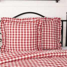 VHC Brands Annie Buffalo Red Check Fabric Euro Sham