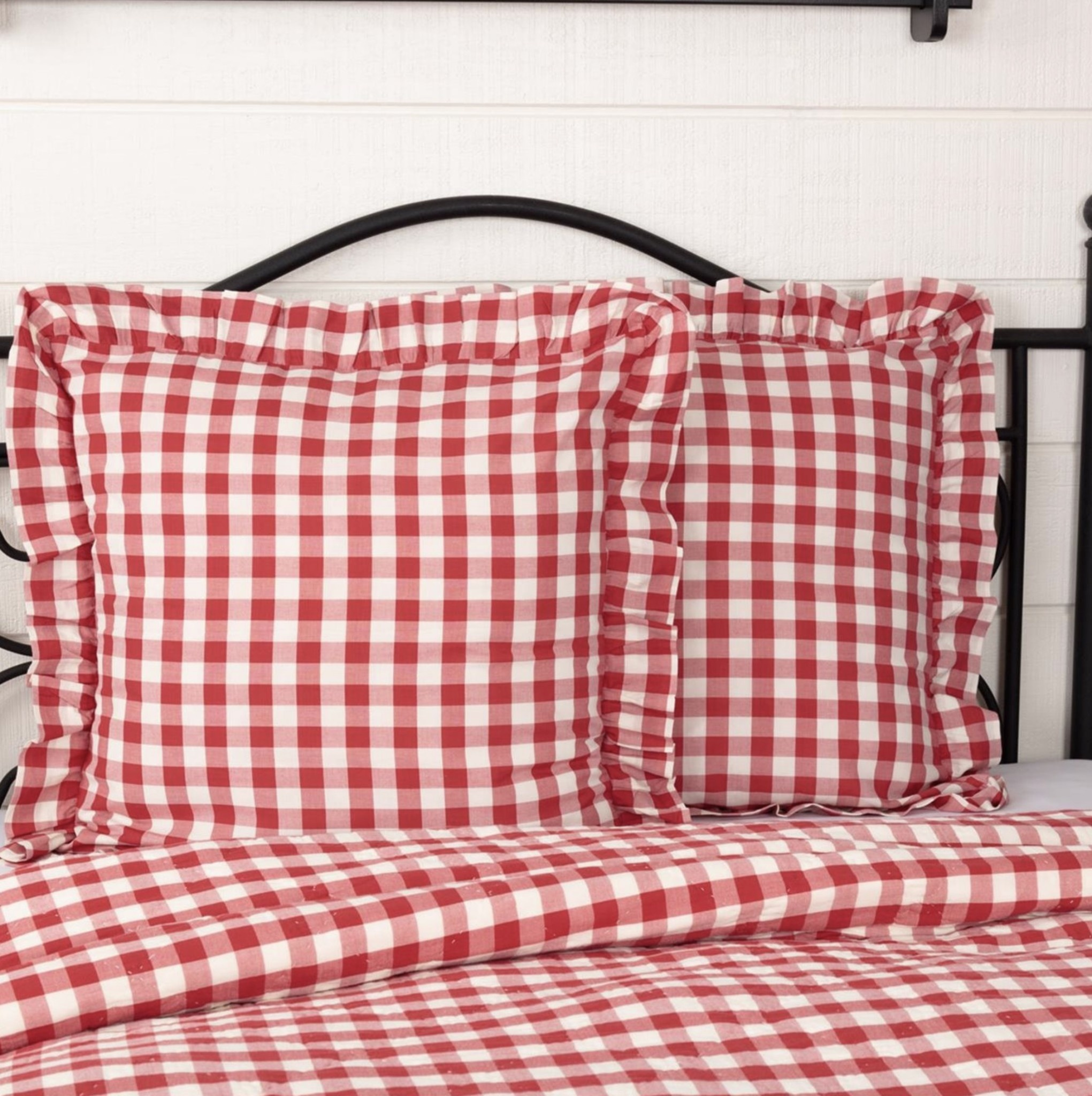 VHC Brands Annie Buffalo Red Check Fabric Euro Sham 26x26