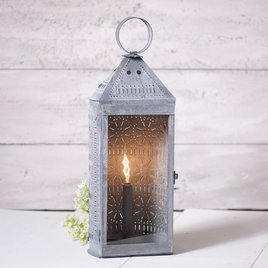 Irvin's Tinware Tall Harbor Lantern in Weathered Zinc