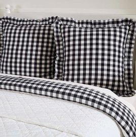 VHC Brands Annie Buffalo Black Check Pillow Fabric Euro Shams