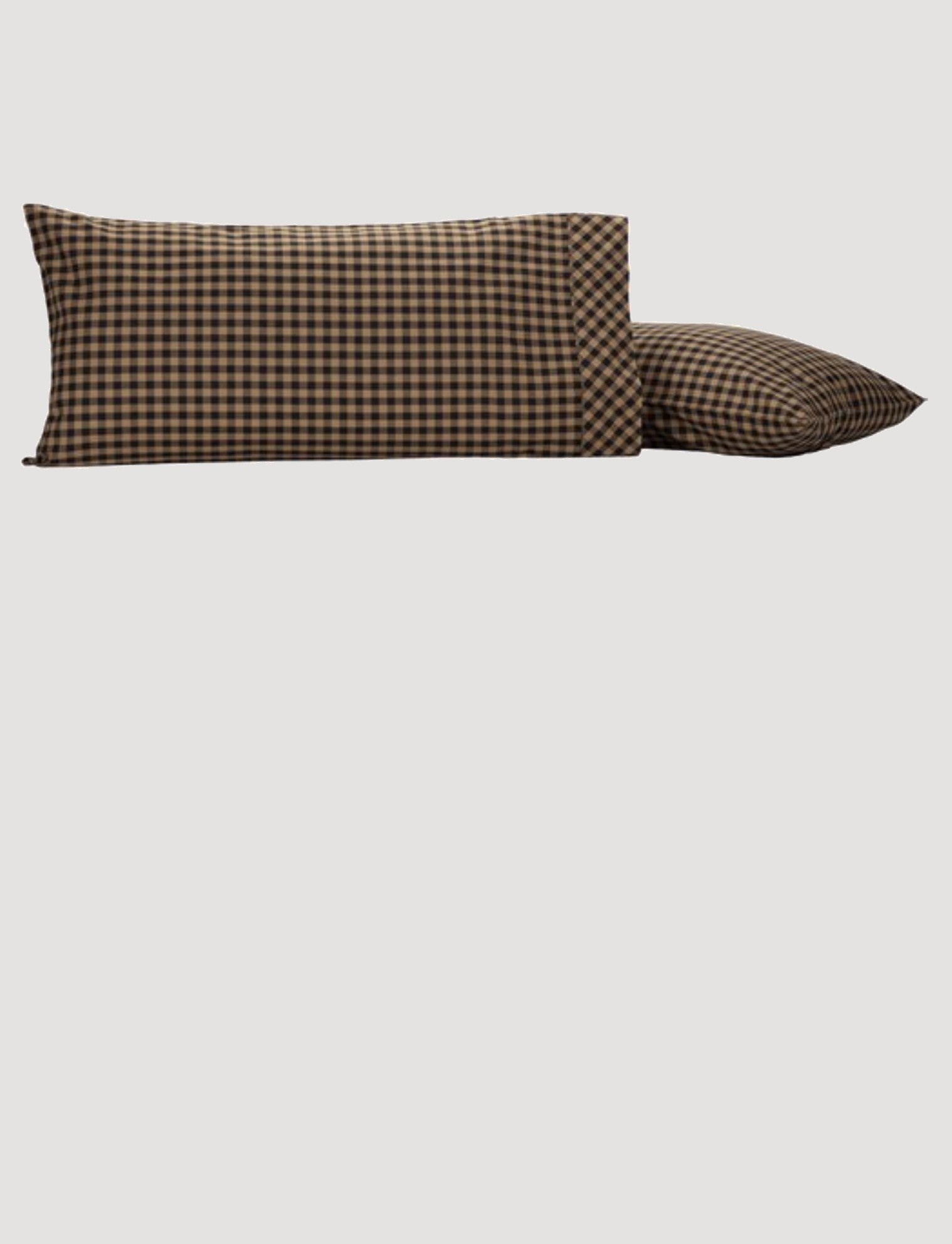 """VHC Brands Black Check King Pillow Case 21""""x40""""  Set of 2"""