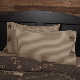 VHC Brands Farmhouse Star Pillow Case with Applique Star Set