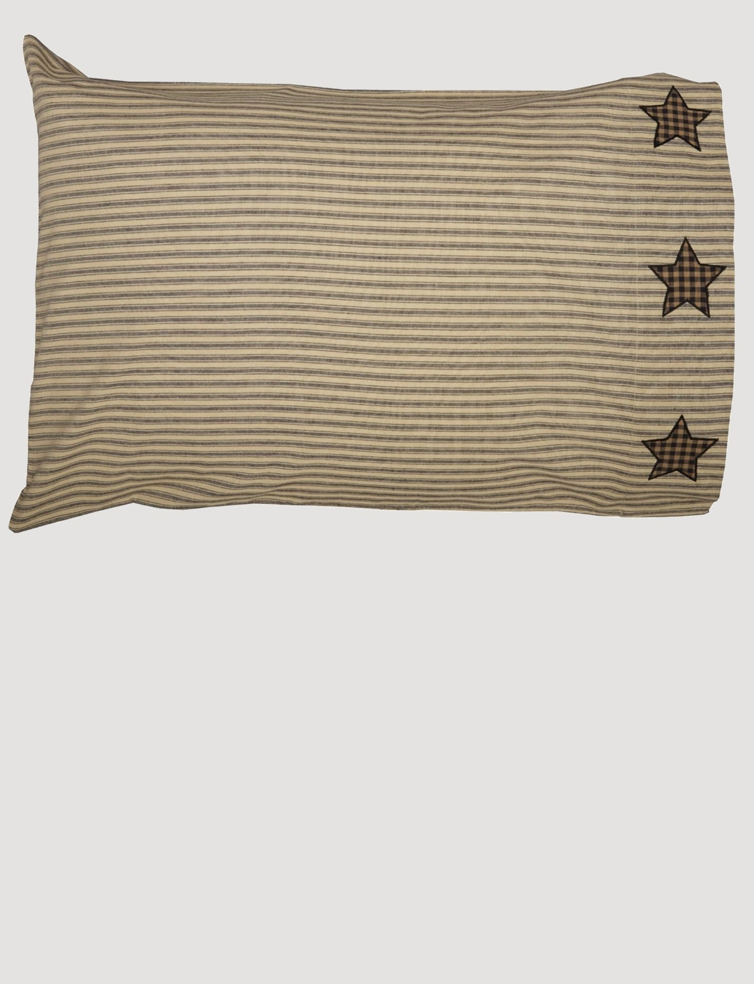 VHC Brands Farmhouse Star Pillow Case W/Applique Star Set of 2