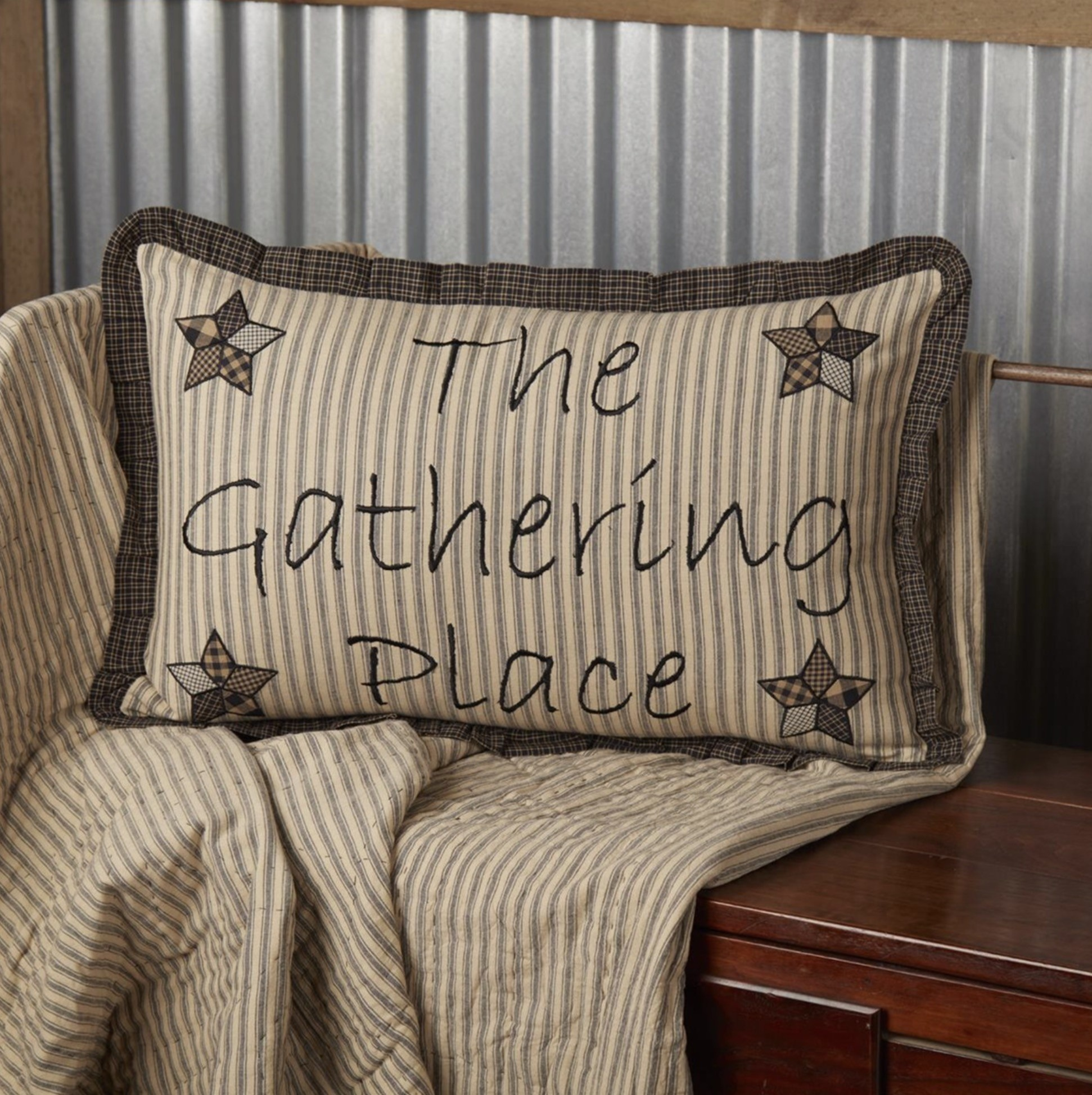 "VHC Brands Farmhouse Star Gathering Place Pillow 14"" x 22"""