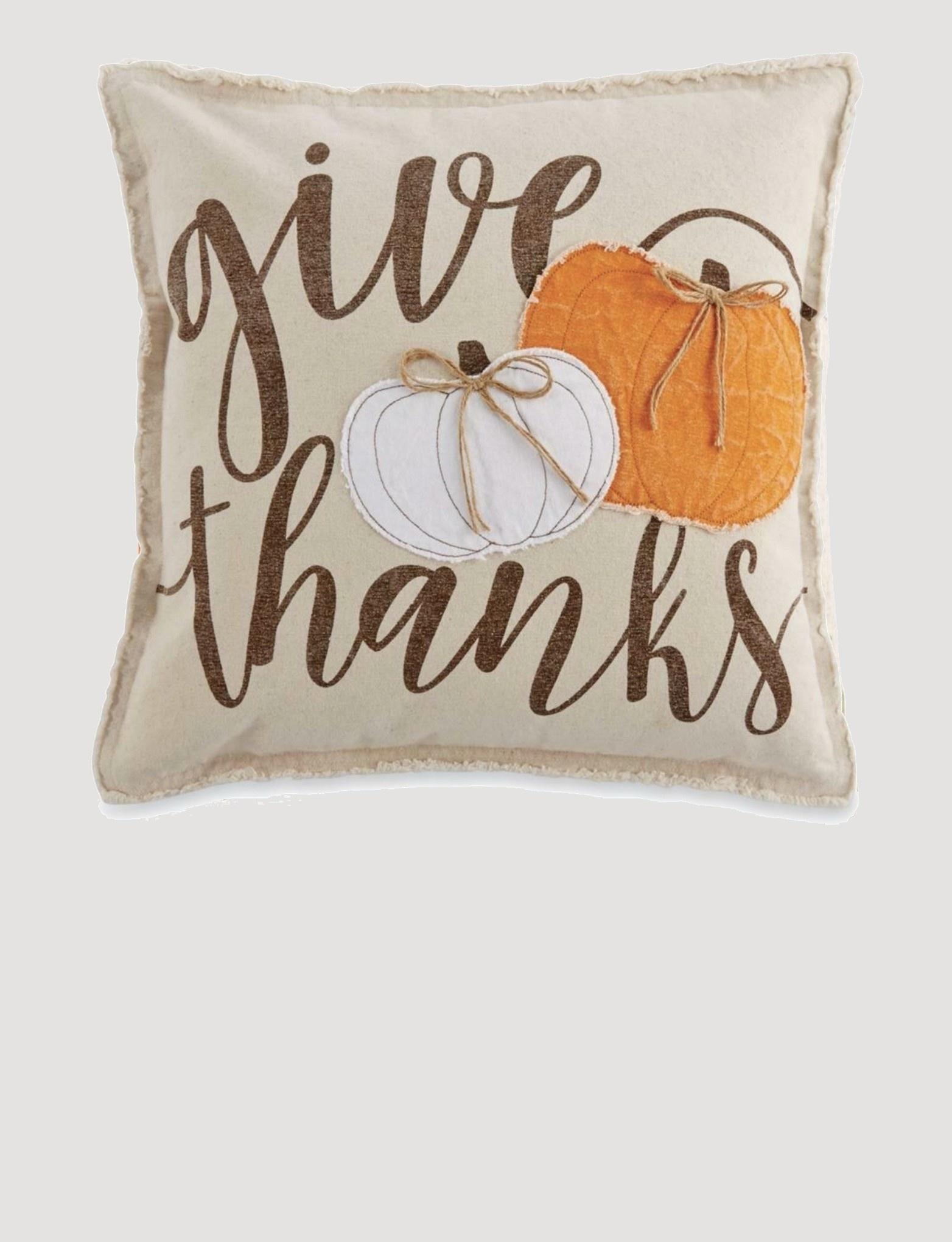 """Mud Pie Canvas Applique Pumpkin Pillow Square 20"""" x 20"""""""