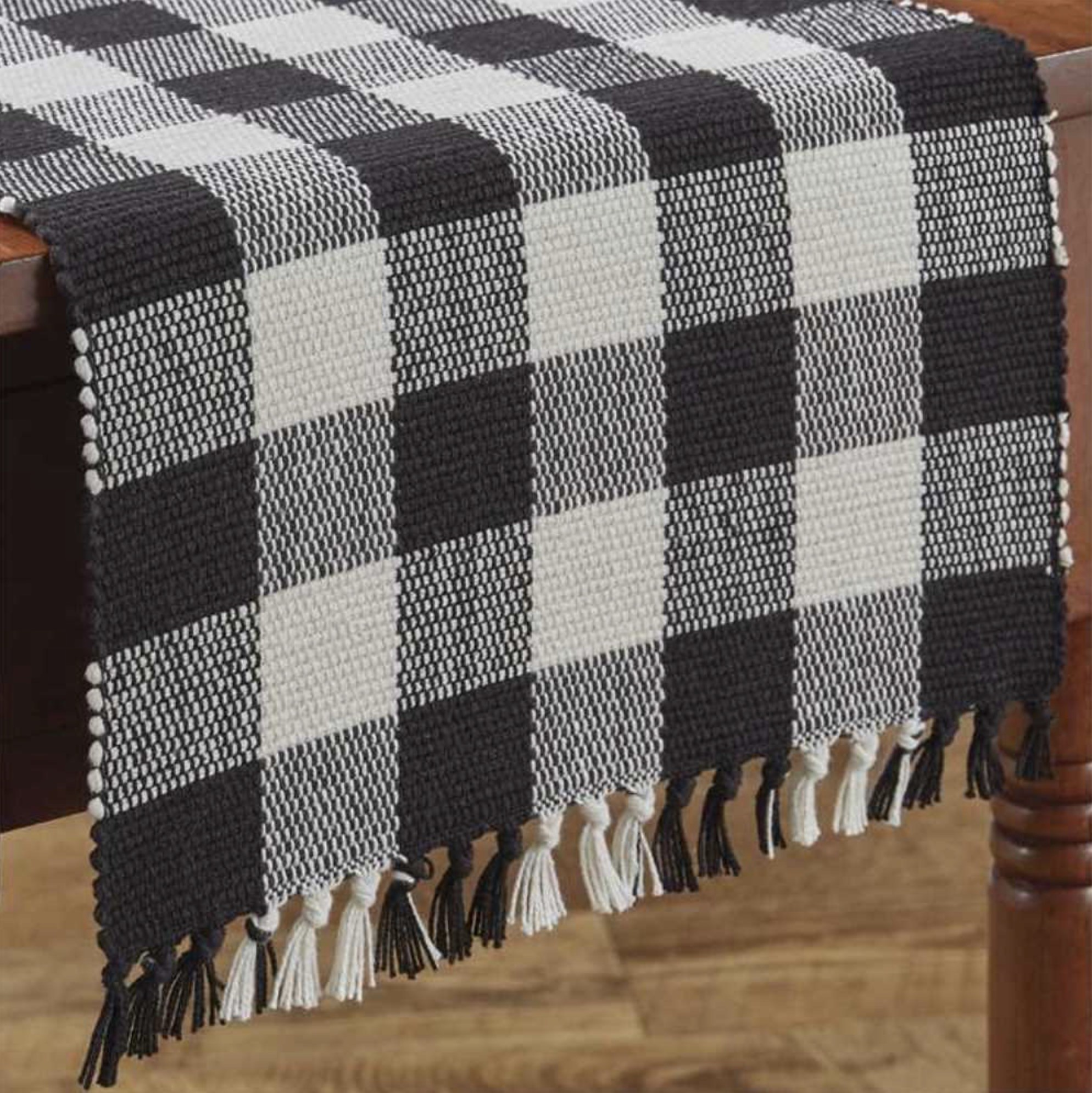 "Park Designs Wicklow Check Table Runner Black/Cream 13"" x 36"""