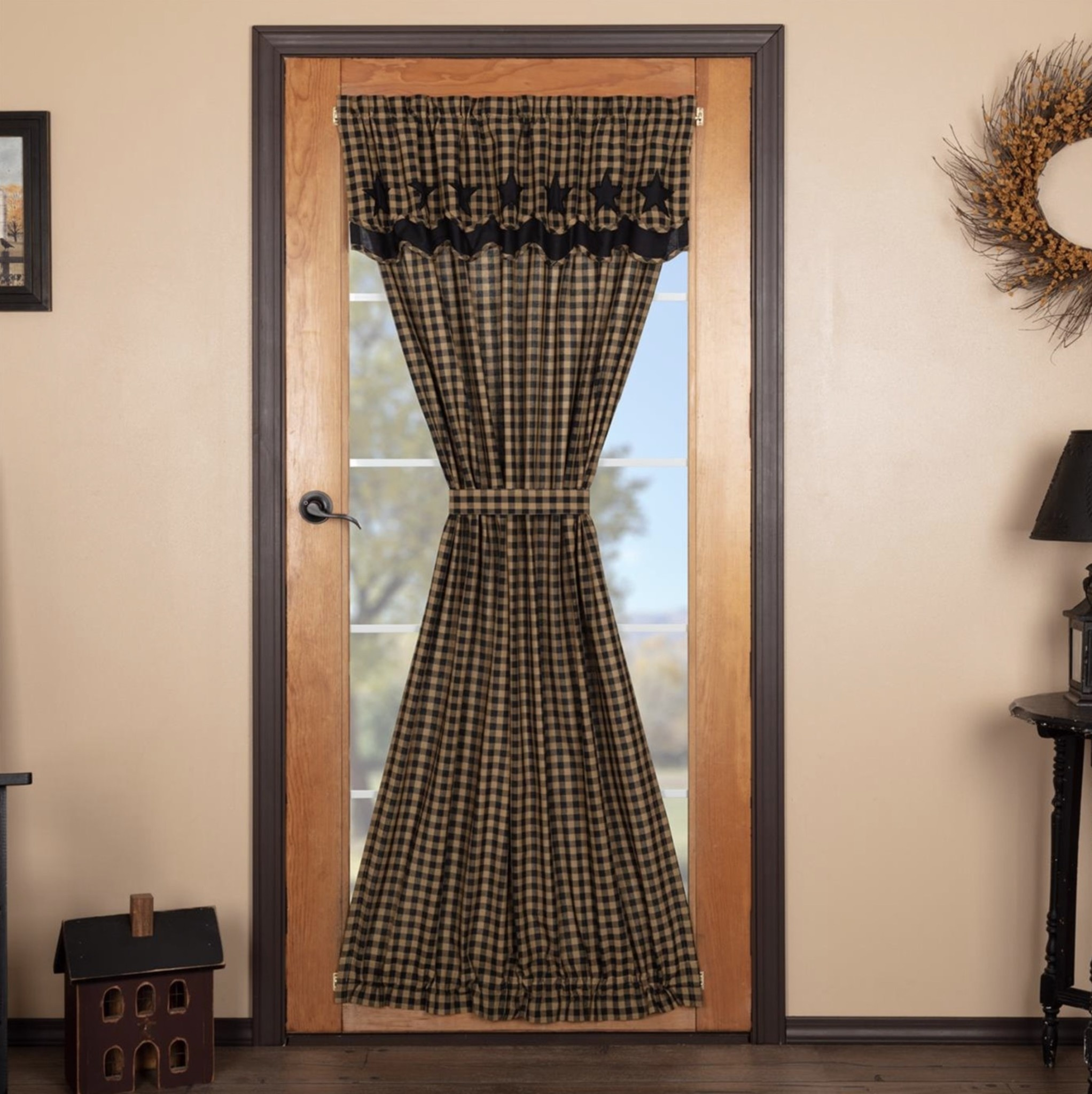 """VHC Brands Black Star Door Panel with Attached Scalloped Layered Valance 72"""" x 40"""""""