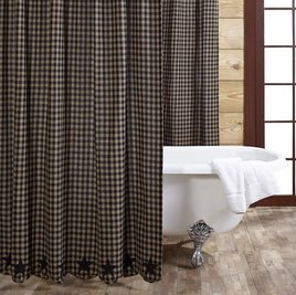 VHC Brands Black Star Shower Curtain