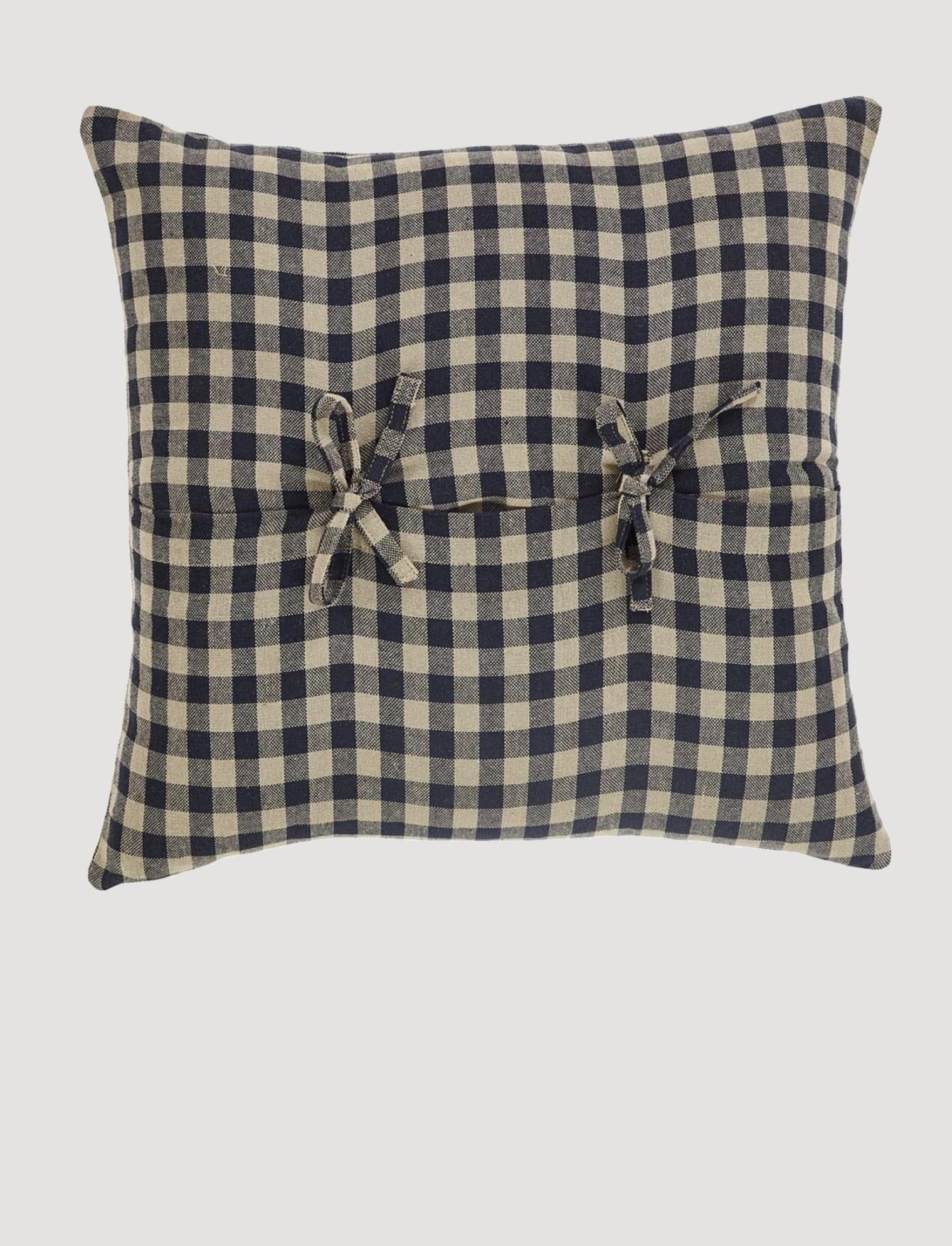 "VHC Brands Black Check Pillow Fabric 16""x16"""