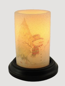 C R Designs Snowman & Tree Candle Sleeve