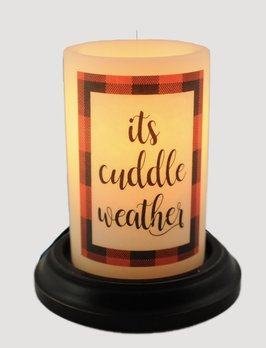 C R Designs It's Cuddle Weather Red Candle Sleeve