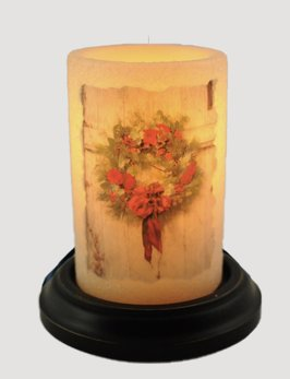 C R Designs Vintage Print Christmas Wreath Candle Sleeve