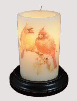 C R Designs Cardinal Pair Candle Sleeve