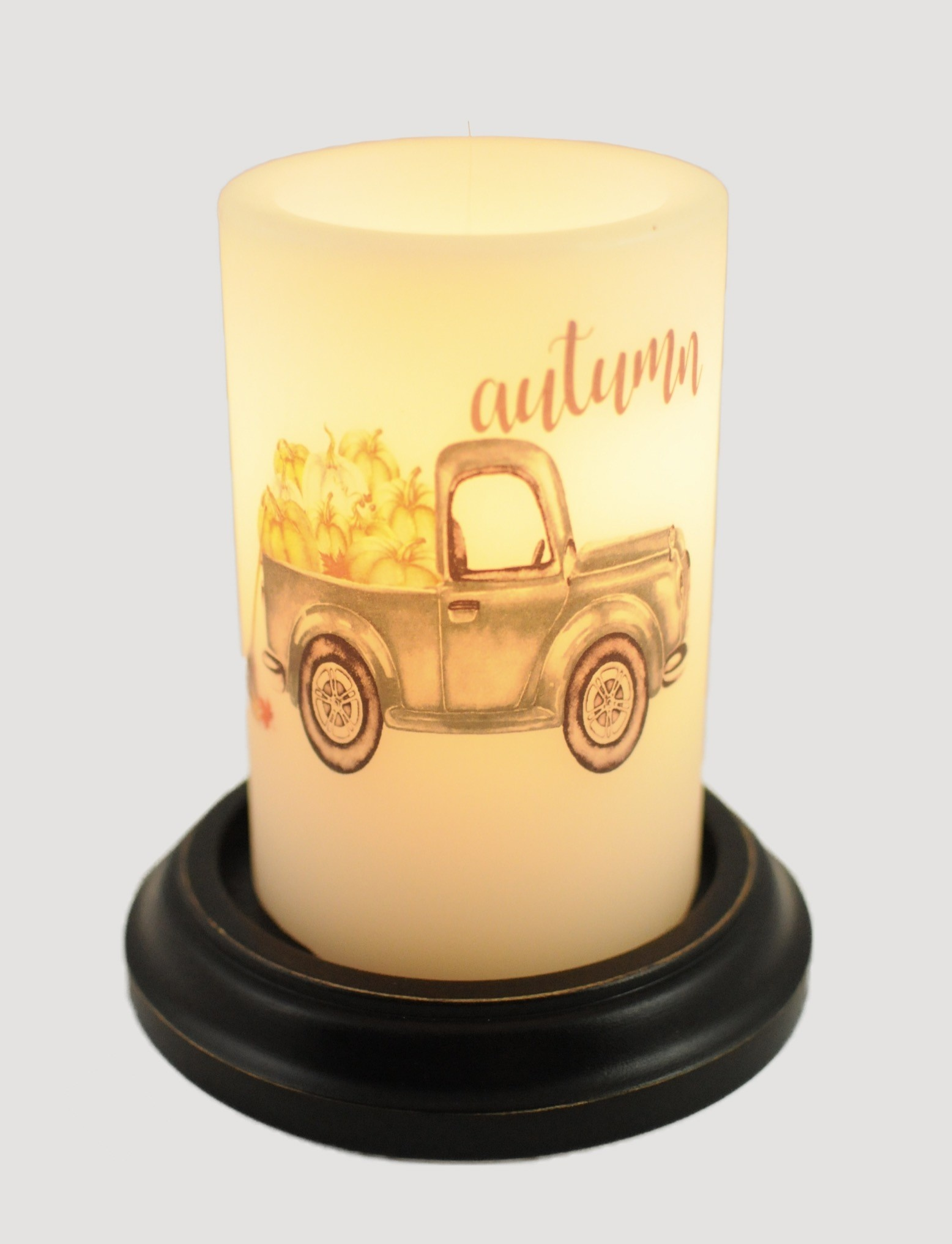 C R Designs Autumn Truck Candle Sleeve