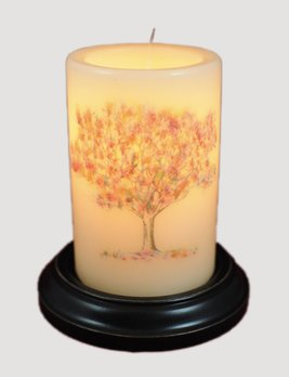 C R Designs Vintage Fall Tree Candle Sleeve
