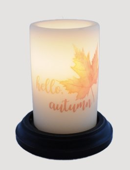 C R Designs Hello Autumn Leaf Candle Sleeve