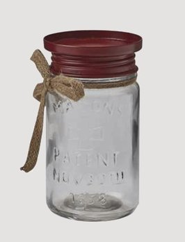 Park Designs Red Mason Jar Pillar Holder