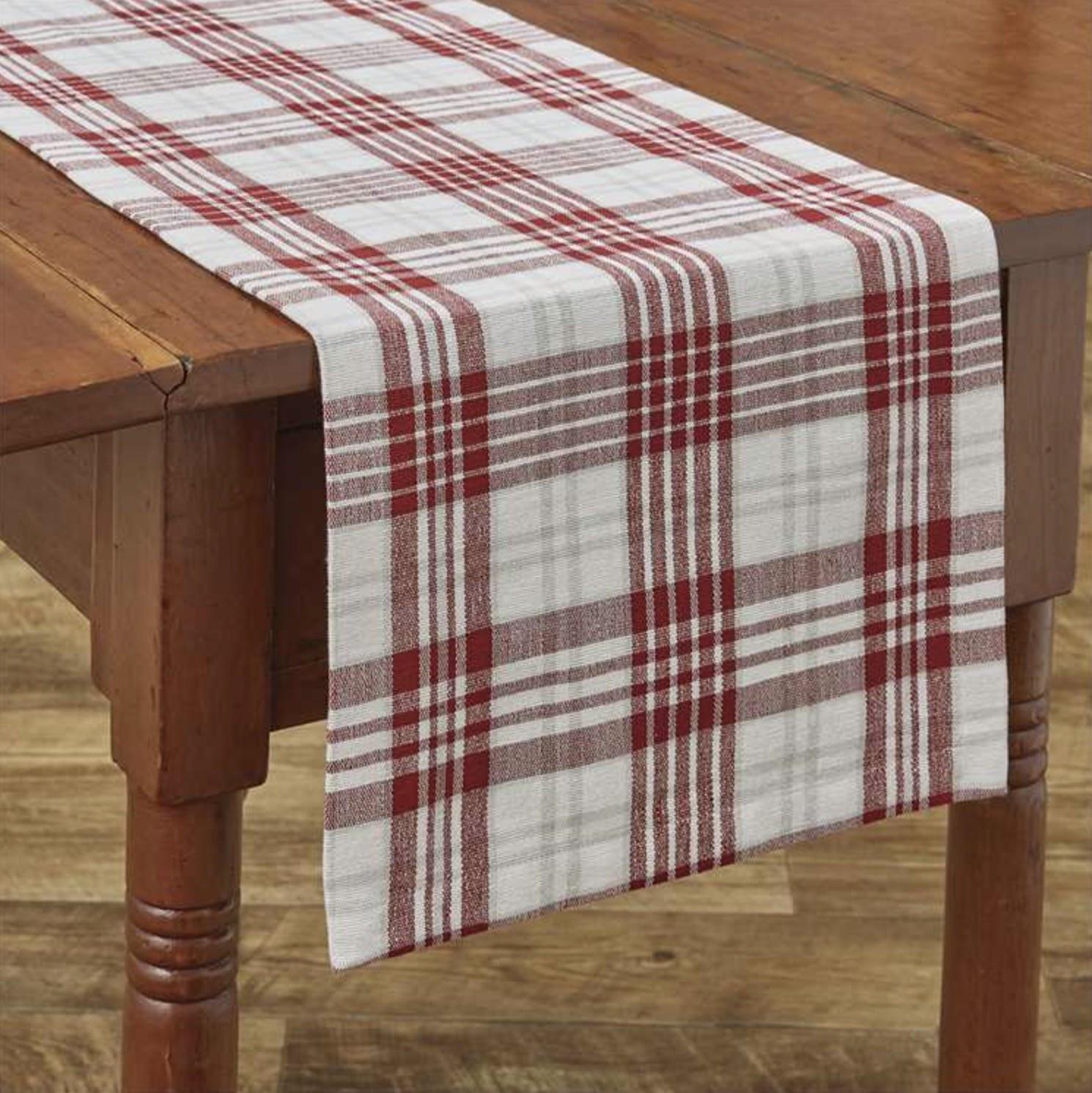 "Park Designs Peppermint Plaid Table Runner 36"" L"