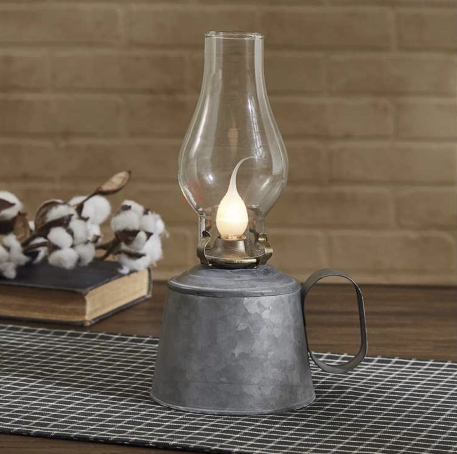 Park Designs Small Galvanized Oil Lamp with Globe