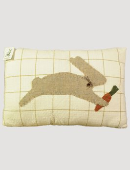 Nana's Farmhouse Handmade Rabbit Pillow with Mustard Stripe