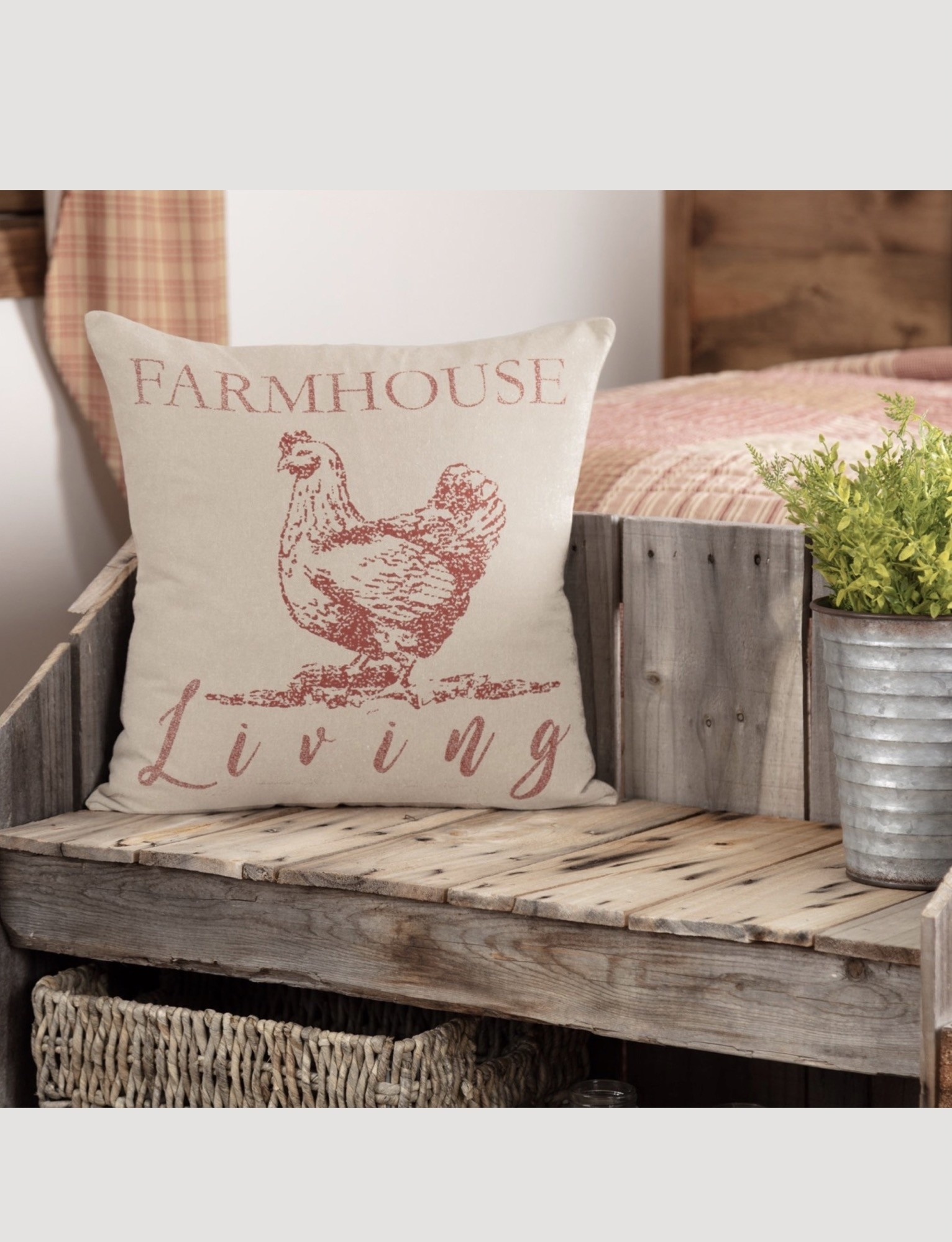 "VHC Brands Sawyer Mill Red Farmhouse Living Pillow 18""x18"""