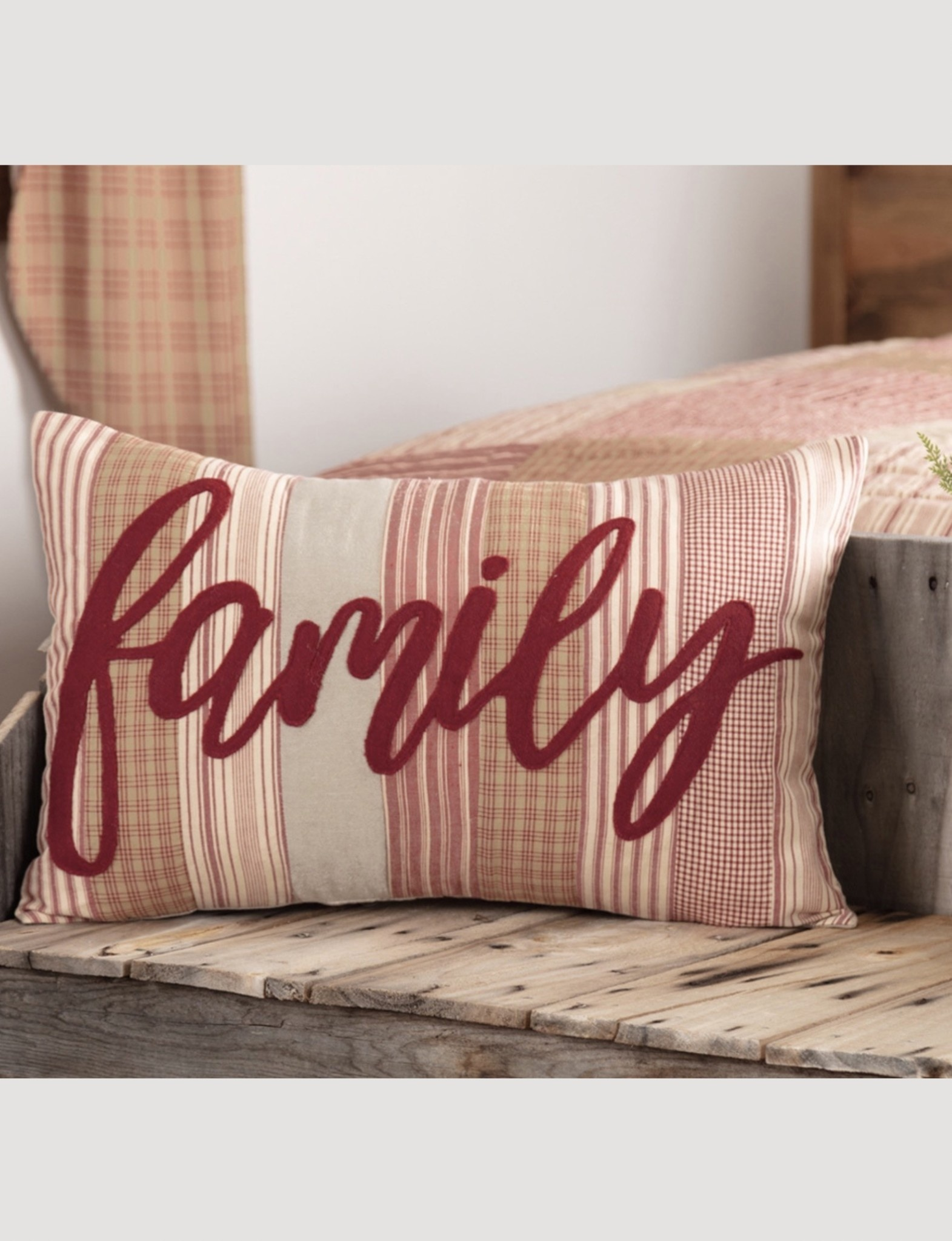 "VHC Brands Sawyer Mill Red Family Pillow 14""x22"""