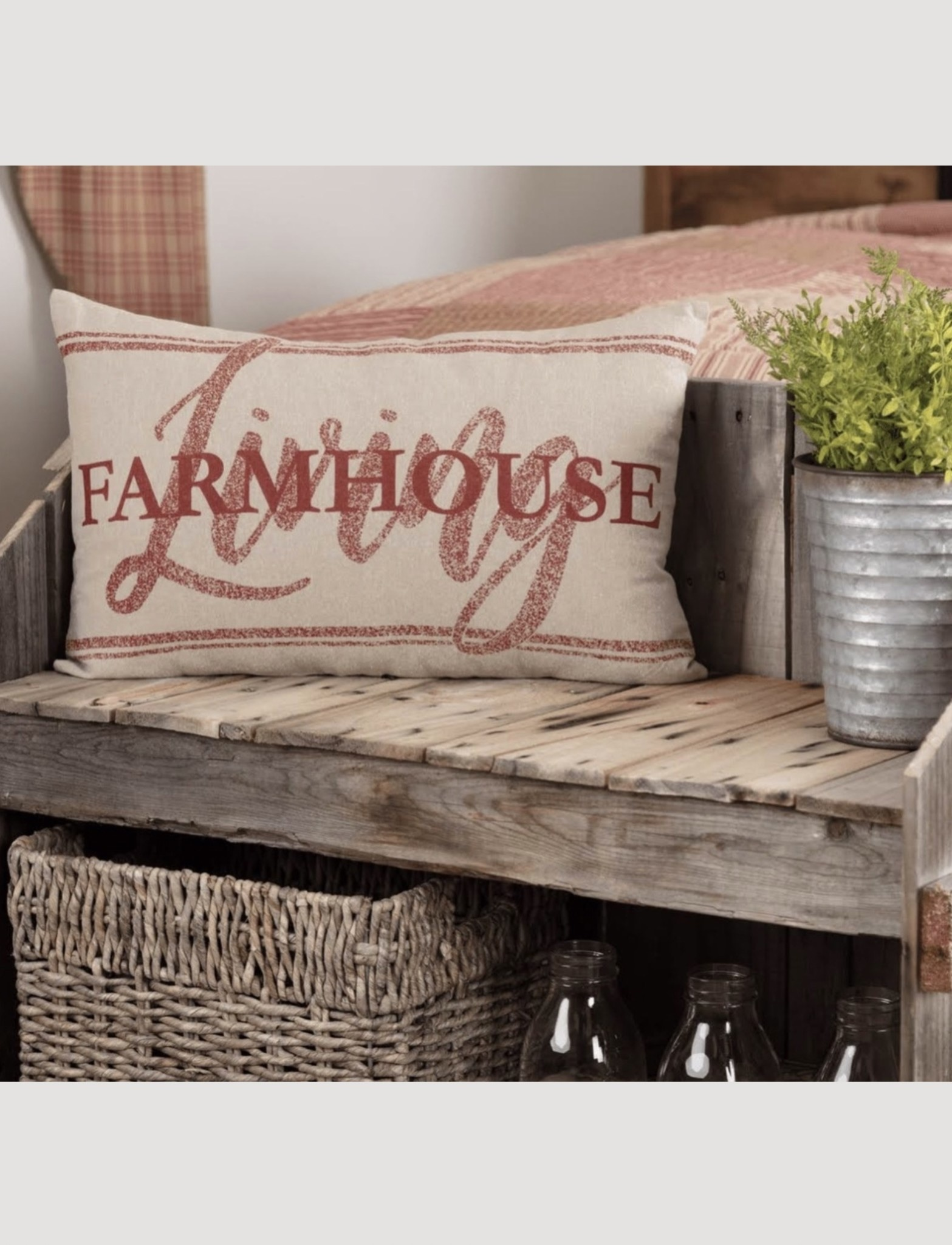 """VHC Brands Sawyer Mill Red Farmhouse Living Pillow 14 x 22"""""""
