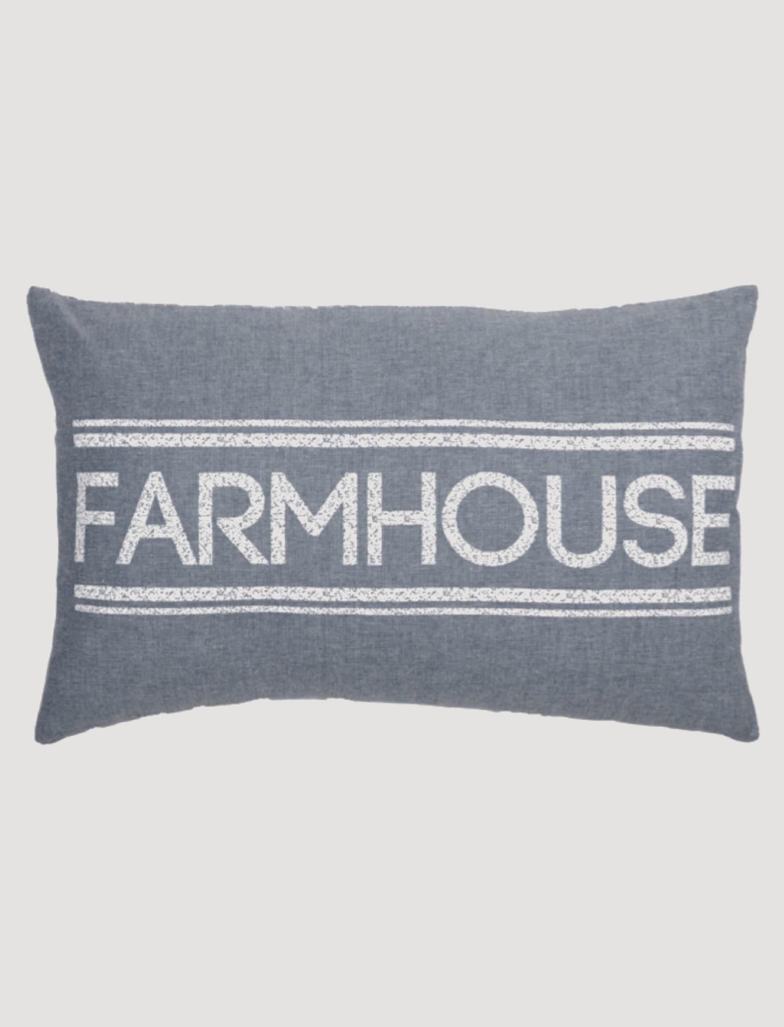 """VHC Brands Sawyer Mill Blue Farmhouse Pillow 14""""x22"""""""