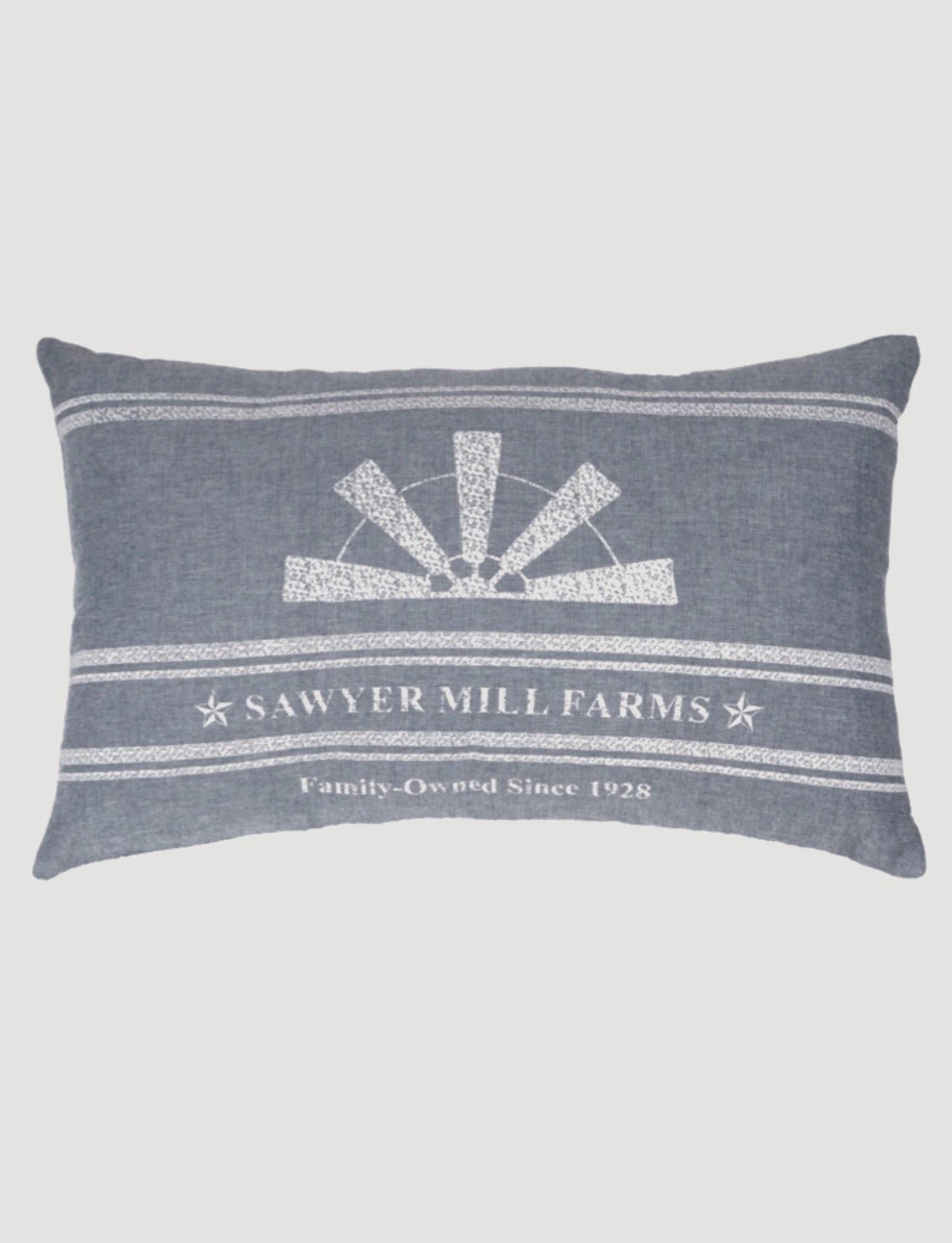 """VHC Brands Sawyer Mill Blue Windmill Blade Pillow 14""""x22"""""""