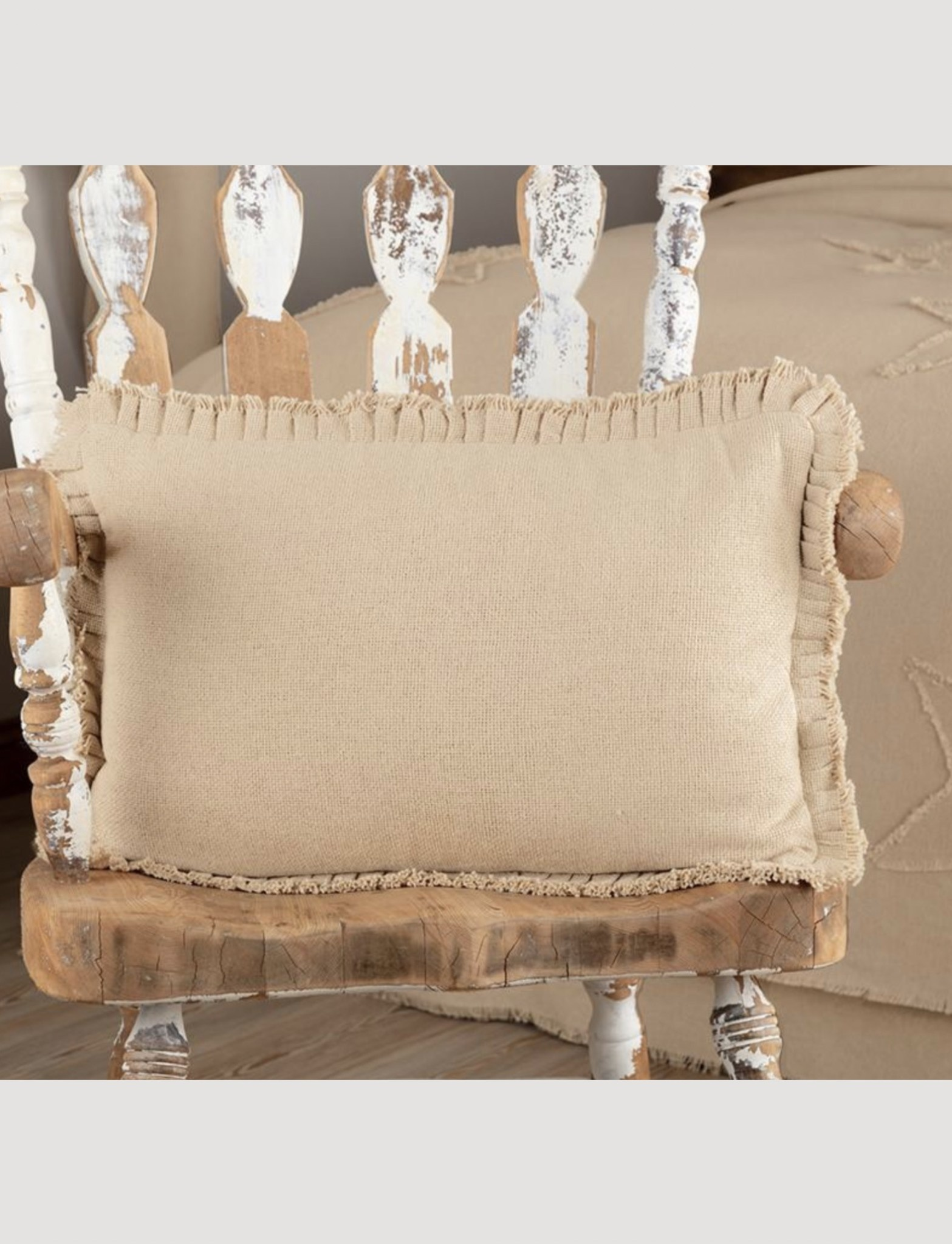 VHC Brands Burlap Vintage Pillow w/ Fringed Ruffle