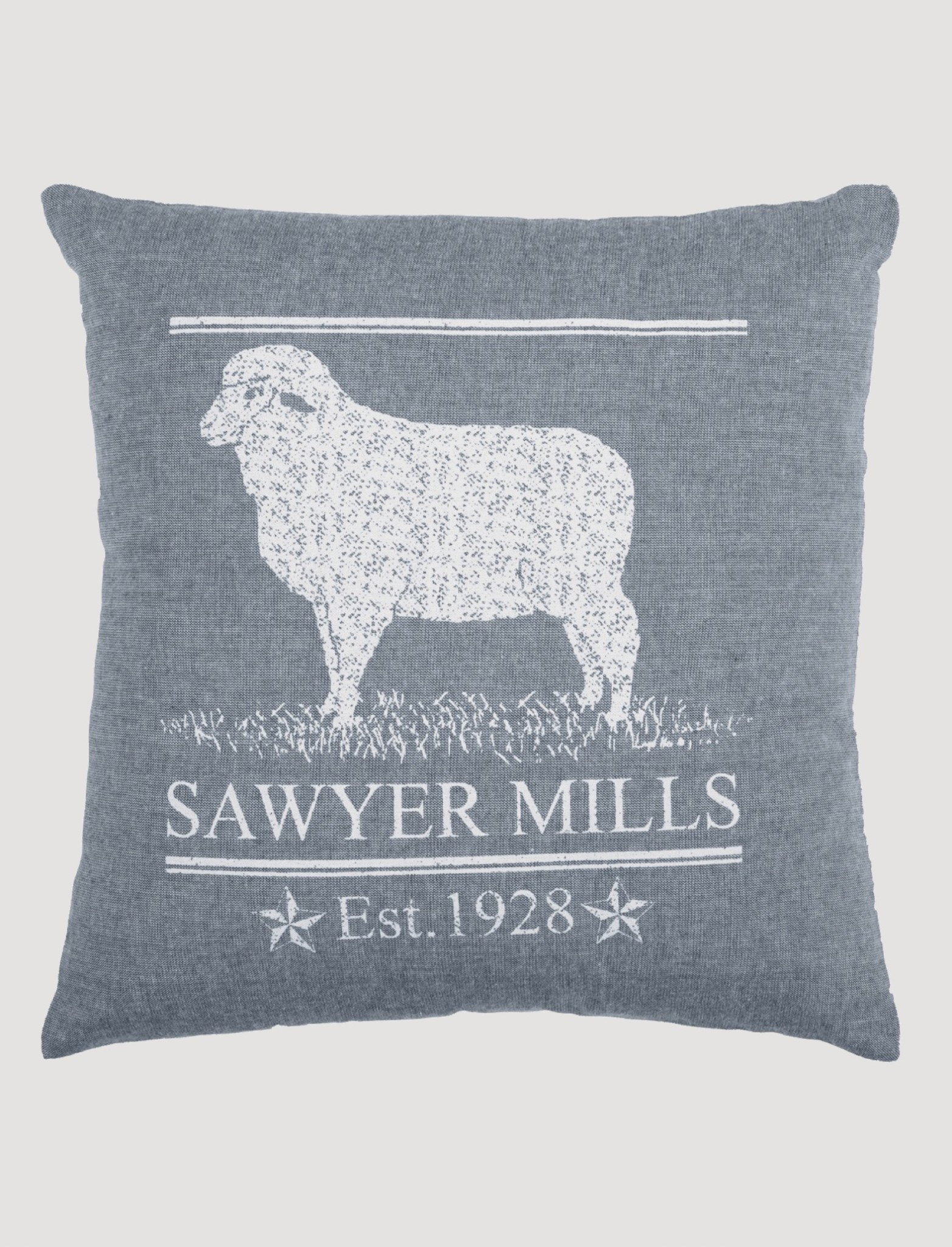 VHC Brands Sawyer Mill Blue Lamb Pillow 18 x 18""