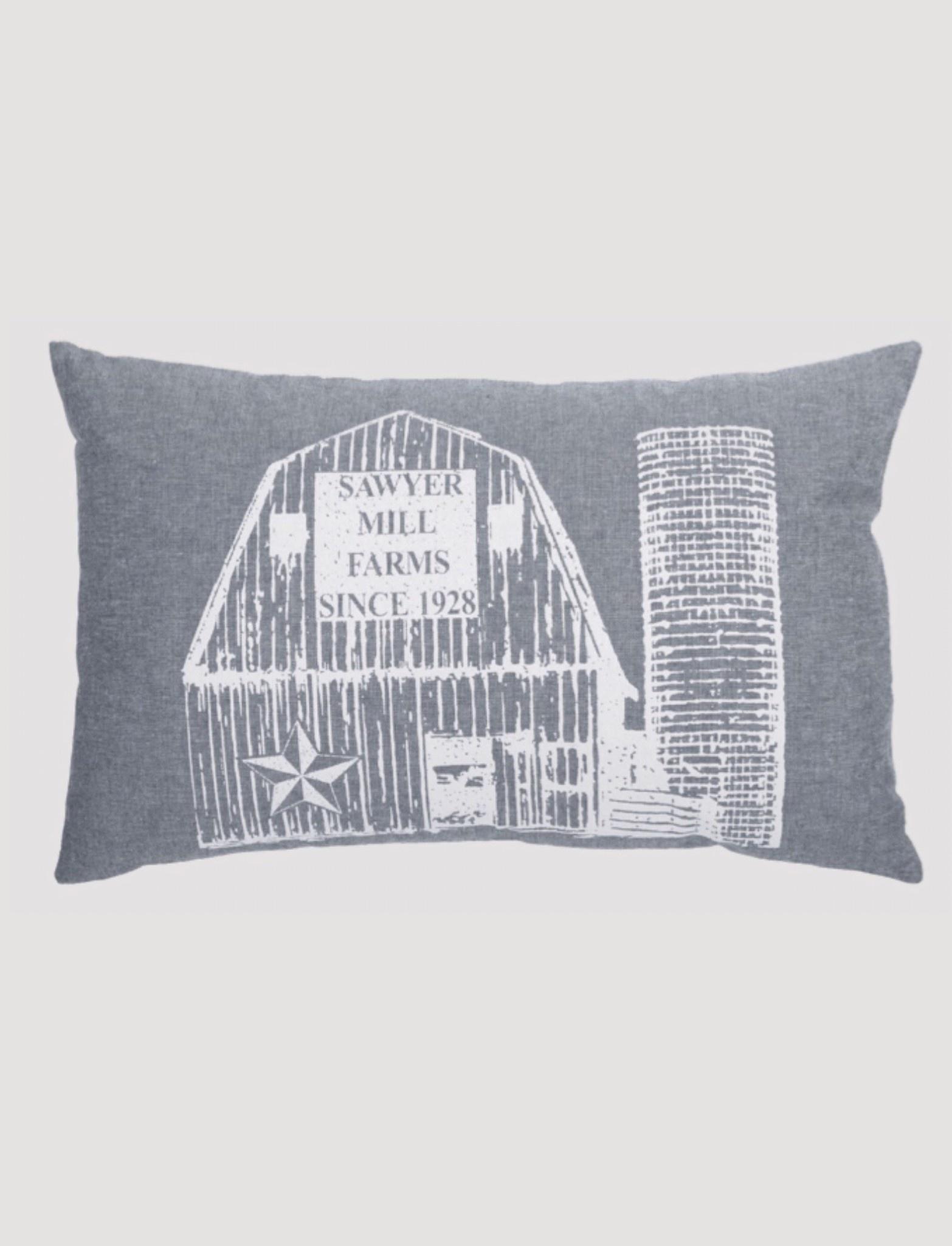 """VHC Brands Sawyer Mill Blue Barn Pillow 14 x 22"""""""